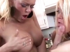 Curvaceous blonde sisters fuck lucky guy at kitchen