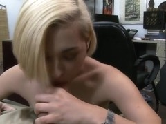 A sexy cute blonde goes wild and gets fucked for cash