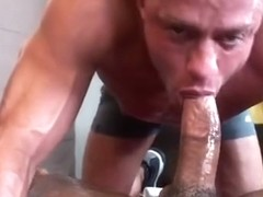 Dude is getting his cock massaged by strong sexy hands and a cum