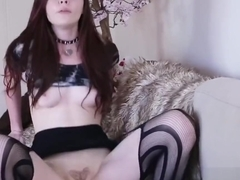 masturbation on the couch with dildo