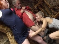 Kinky redhead got tied up, fingered and then fucked from the back, until she came