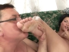 Experienced brunette is giving an amazing blowjob to an elderly man, while his wife is at work