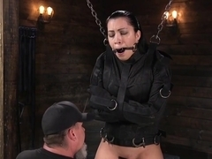 Bound In Straitjacket Sub Hard Whipped