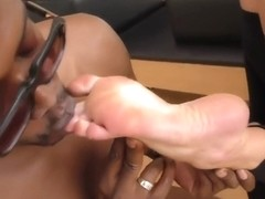Black guy is about to fuck a sweet blonde chick after playing with her sensual feet