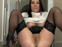 Kinky Mature Pulls a Chain from her Pussy
