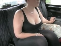 Huge-breasted hottie gets laid in a fake taxi cab