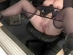 Horny grandma with huge clit has fun at computer