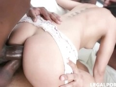 Experienced brunette, Lady Dee is sucking many black dicks ans getting them in her tight fuckholes