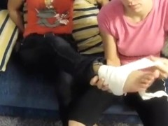 2 Girls with 3 Injured Feet Wrapped in Bandage and Wearing Flats