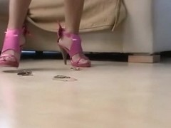 Two girls sexy bug crush in high heels.
