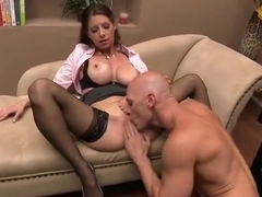 Fine-looking buxomy MILF Angel in real hard fuck video