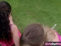 Skinny Celine and exotic Tello have lesbian sex on the grass
