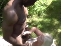 Granny rides and gobbles bbc outdoors