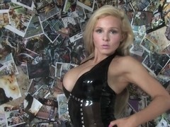 Robyn in Trans Black Dress and Stockings - LatexHeavenVideo