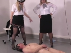 Rough femdoms pee on masturbing sub
