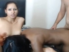 Two Hottie Gets Their Pussy Fucked By A Lucky Guy