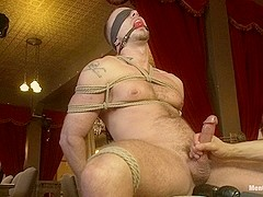 Porn superstar Jessie Colter gets bound gagged and edged until he begs to cum