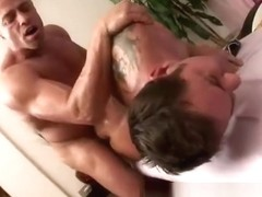 Masseur with big cock smacks clients ass