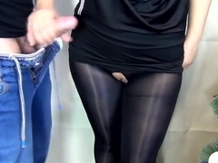 (60FPS) HANDJOB CUM ON PUSSY SEXY SECRETARY IN NYLON PANTYHOSE - SANYANY