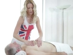 Slender blonde babe, Polina is giving a massage to an elderly man before fucking him