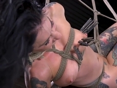 Suspended bdsm chick lashed and clamped