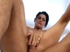 Damn, this girl! Argentinian Mora takes two big men inside her so easily...