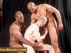 Interracial gay threesome suck