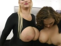 Samantha 38g with two MILF's are showing and shaking their tits