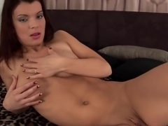 Pretty brunette Franca solo with dildo