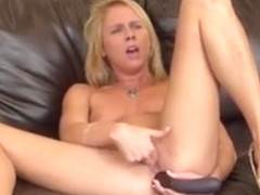 Dazzling Blonde Aria Austin Fucks Her Holes With A Big Dildo On Camera